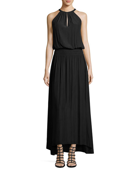 Maya Net-Back Blouson Long Dress, Black