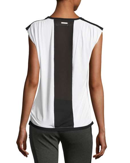 Riot Sleeveless Tank Top, White-Black