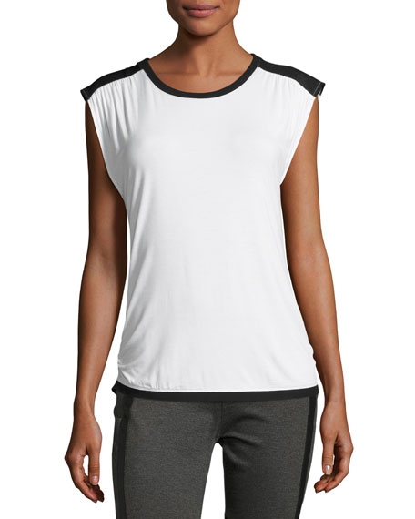 Blanc Noir Riot Sleeveless Tank Top, White-Black