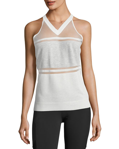 Blanc Noir Vue Paneled Sweater Tank Top, White