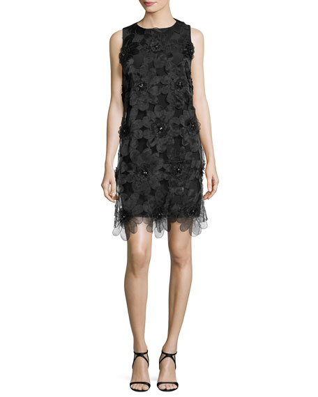 Badgley Mischka Sleeveless Floral Cocktail Dress, Black