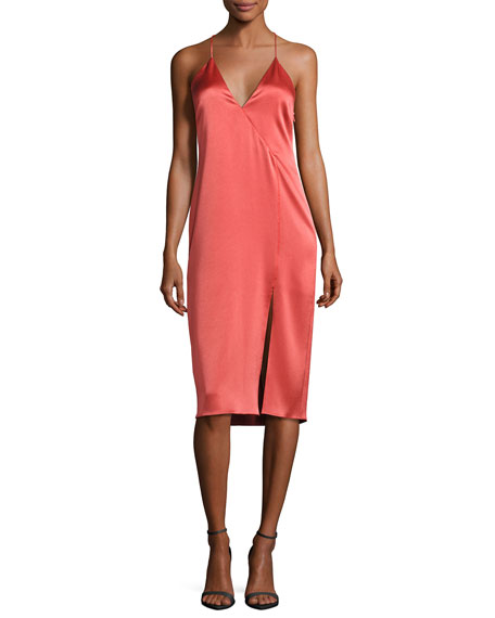 Halston Heritage Sleeveless Satin Slip Dress, Chili