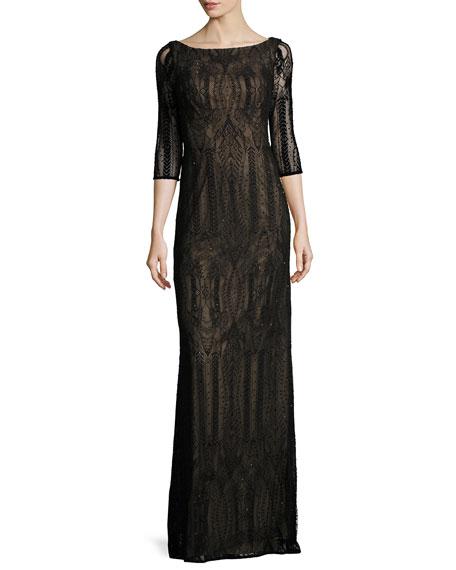 La Femme 3/4-Sleeve Beaded Geometric Column Gown, Black