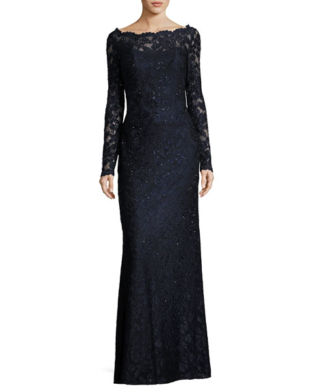 La Femme Long-Sleeve Beaded Lace Gown, Navy