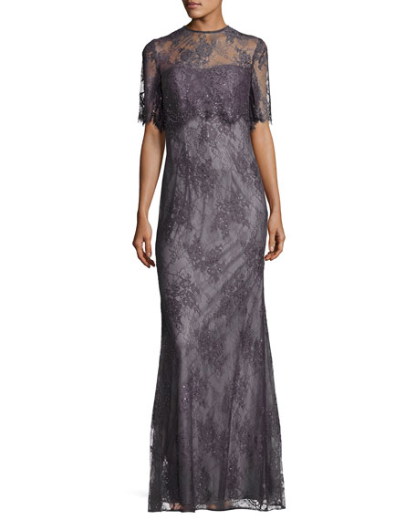 Short-Sleeve Floral Lace Popover Gown, Charcoal