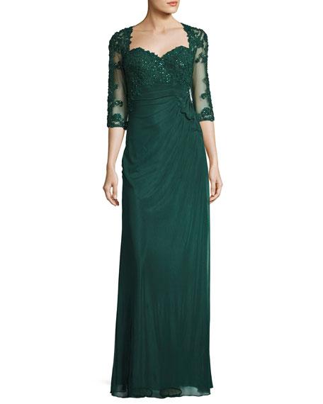 La Femme 3/4-Sleeve Embellished Lace Chiffon Dress, Forest