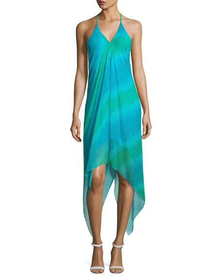 Ramy Brook Nadia Halter Stripe Midi Dress, Green