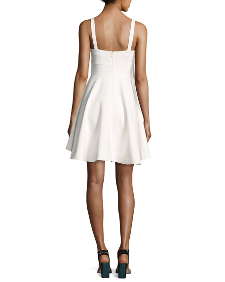 Nyma Front-Tie Sleeveless Mini Dress, Ivory