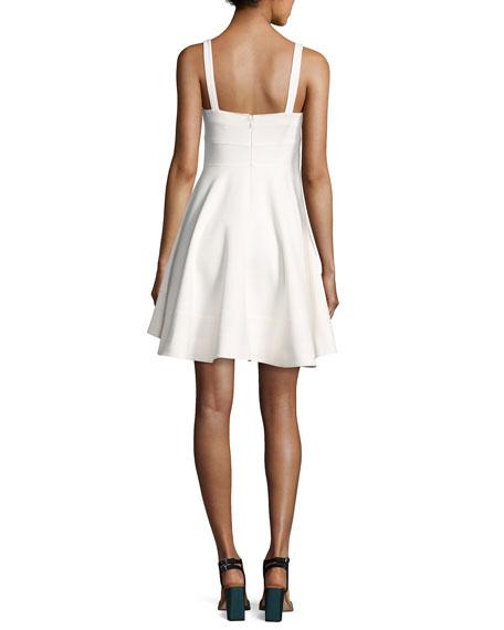 Nyma Front-Tie Sleeveless Mini Dress, Ivory