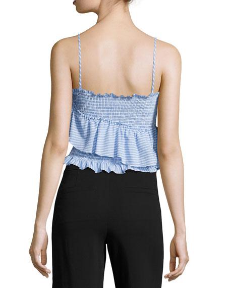 Mara Smocked Ruffled Crop Top, Blue Pattern