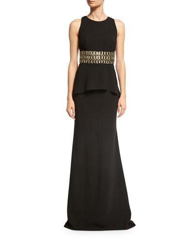 Sleeveless Embellished Peplum Jersey Dress, Black