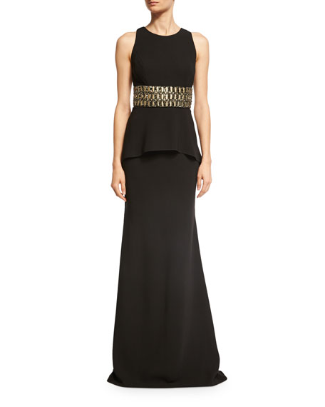 Carmen Marc Valvo Sleeveless Embellished Peplum Jersey Dress,