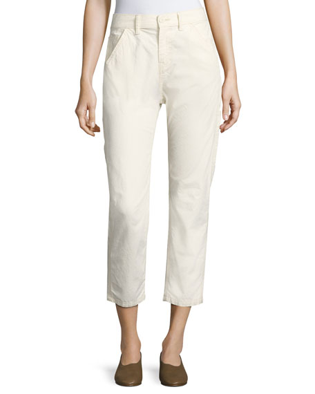 Vince Utility Carpenter Straight-Leg Pants, Natural