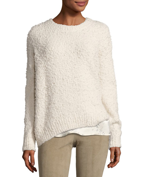 Textured Wool Pullover Sweater, Off White
