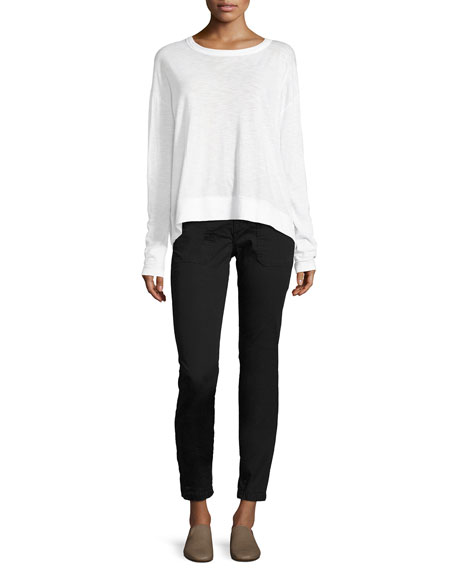 Drop-Shoulder Pima Crewneck Top