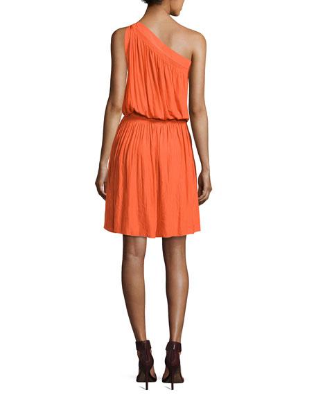 Rebecca One-Shoulder Goddess Dress, Orange