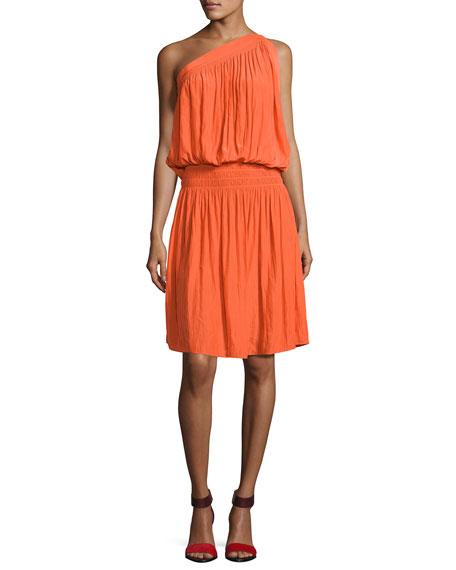 Ramy Brook Rebecca One-Shoulder Goddess Dress, Orange