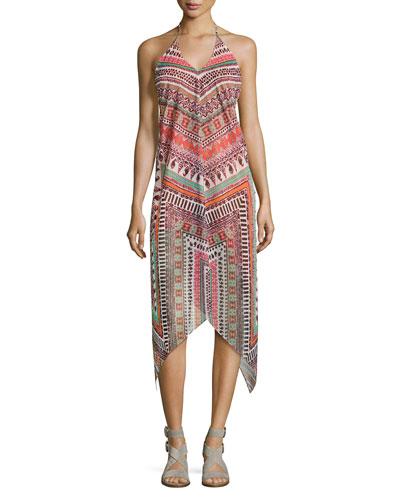 Nadia Herringbone Printed Dress, Multi