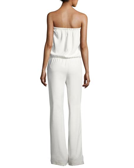Allie Strapless Blouson Jumpsuit, White