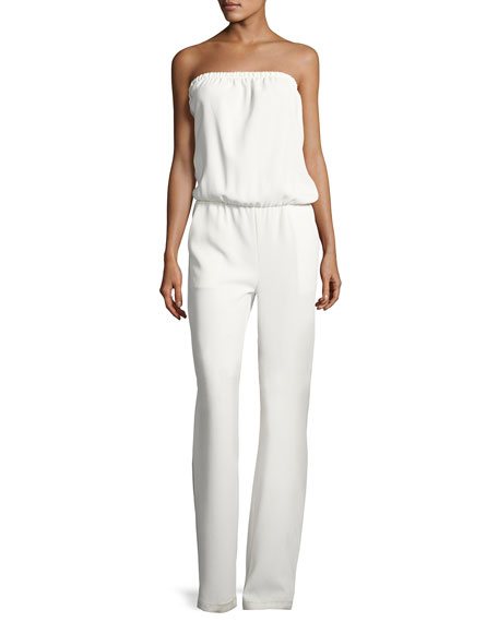 Allie Strapless Blouson Jumpsuit, White