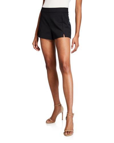 Adele Slit-Front Shorts, Black