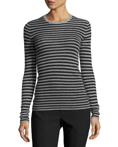 Vince Striped Rib Cashmere Crewneck Sweater and Matching