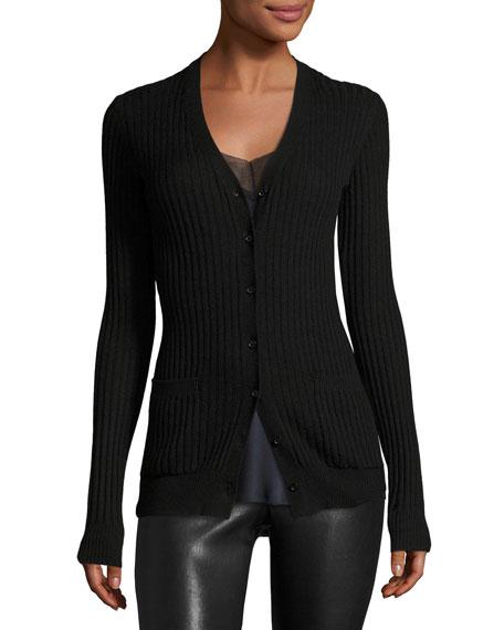 Vince Rib Skinny Cashmere Cardigan Sweater, Black