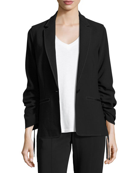 Elizabeth and James Myrla Ruched-Sleeves Blazer, Black