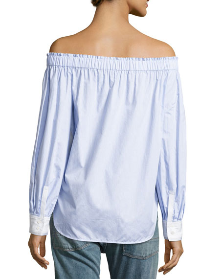 Geneva Off-The-Shoulder Cotton Top, Blue/White