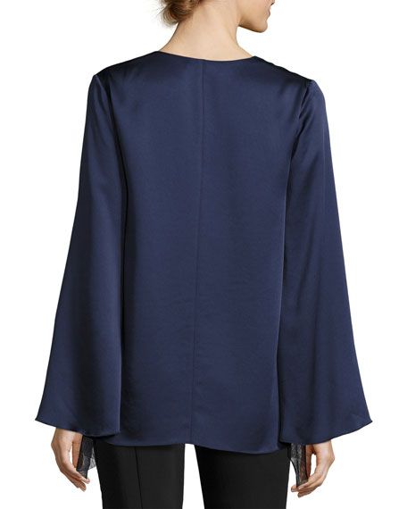 Heath Long-Sleeve Satin Ruffled Top, Indigo