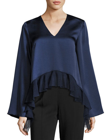 Elizabeth and James Heath Long-Sleeve Satin Ruffled Top,