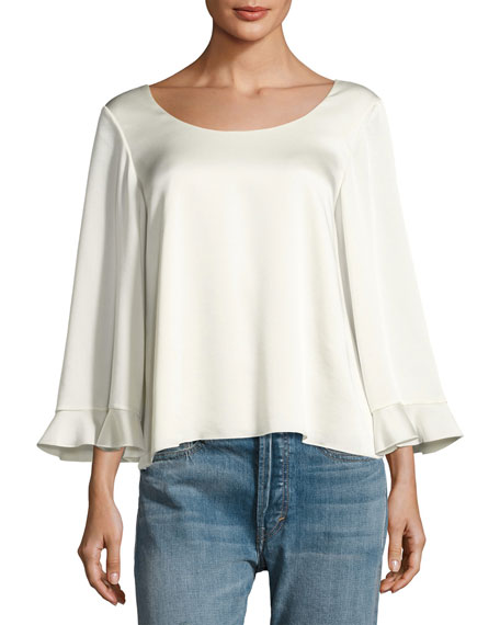 Elizabeth and James Karlotta Boat-Neck Scoop-Back Blouse, Ivory
