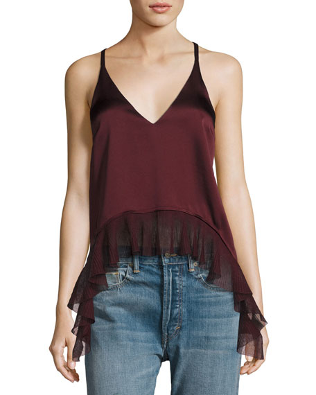 Elizabeth and James Manette Satin Ruffled Tank Blouse,