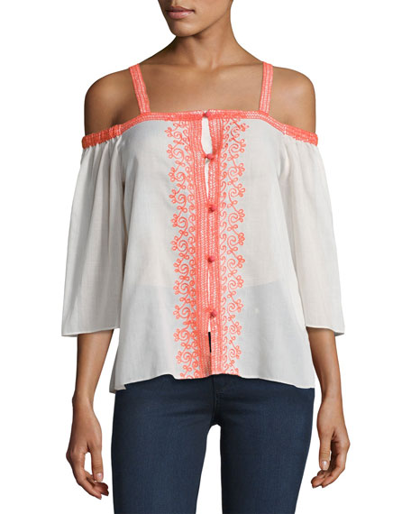Bailey 44 Rose Water Cold Shoulder Cotton Top,