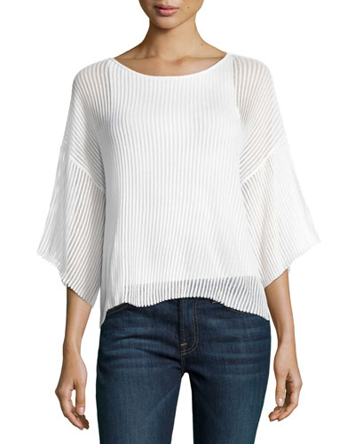 Jellabija Textured Cotton Top, White