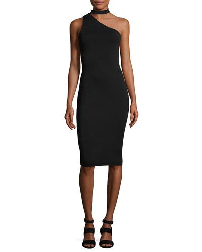 Casablanca Collar One-Shoulder Sheath Dress, Black