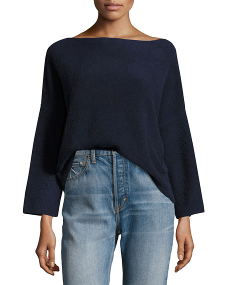 Vince Boxy Boat-Neck Cashmere Pullover Sweater, Coastal