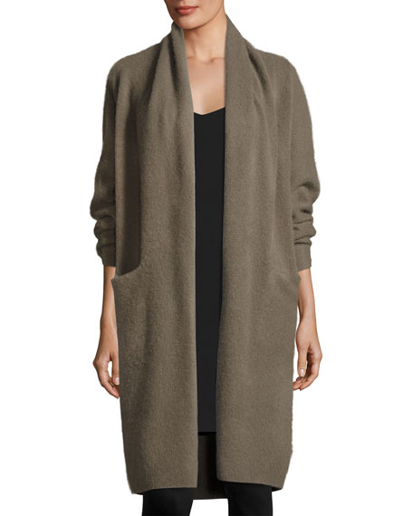 Vince Long Cashmere Open-Front Cardigan, Olivewood
