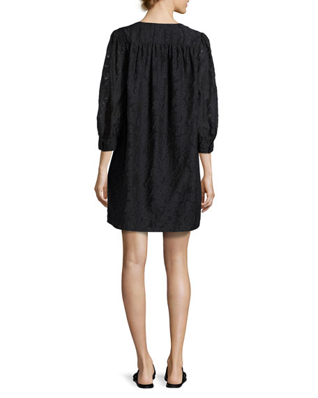 Heidi Full-Body Three-Quarter Sleeve Dress, Black