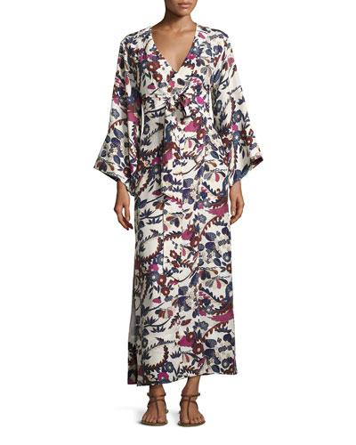 Howe Long-Sleeve Kimono Robe Dress, Ivory