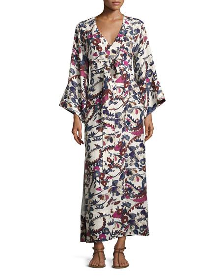 Elizabeth & James Howe Long-Sleeve Kimono Robe Dress, Ivory | Neiman Marcus