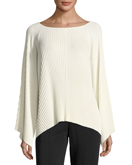 Elizabeth and James Reagan Pleated Wide-Sleeve Boat-Neck Sweater,