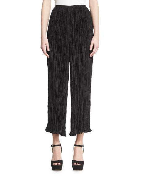 Crescent Pleated Flare Cropped Pants, Black