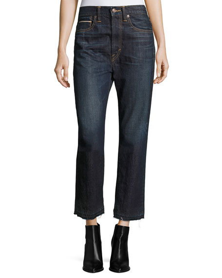 Vince Union Slouch Released-Hem Jeans, Dark Vintage Wash