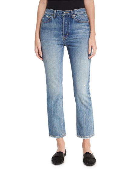 Vince High-Rise Vintage Straight-Leg Jeans, Med Wash