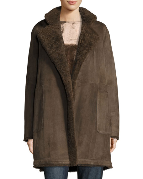 Vince Reversible Teddy Shearling Fur Coat, Dark Willow