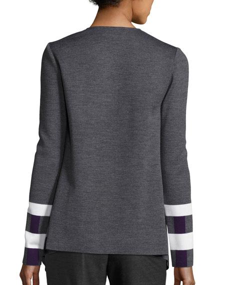 Milano Jacquard Drape-Front Jacket