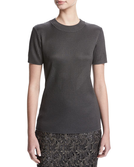 Short-Sleeve Rib-Knit Top