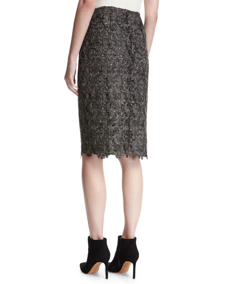 Plume Embroidered Guipure Lace Pencil Skirt