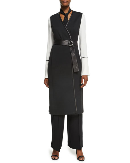 St. John Collection Milano Knit A-Line Long-Line Vest